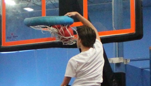 No Vertically Challenged in the Trampoline Dunking Club