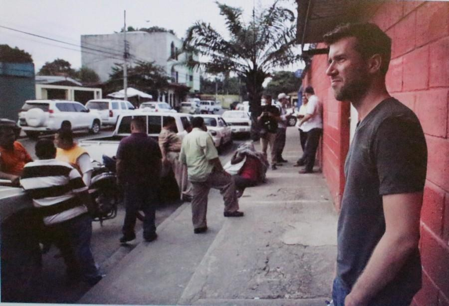 """Dr. Roy Germano  (Trinity, '98) in San Pedro Sula, Honduras, filming a new episode of his VICE News documentary series, """"Immigrant America."""