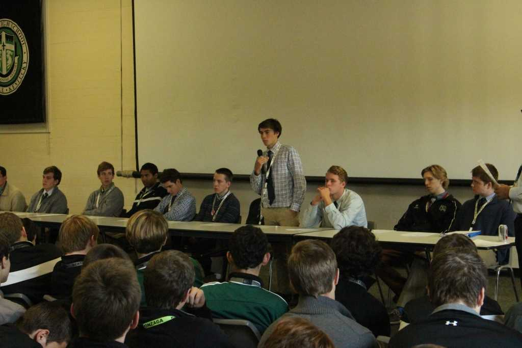 Fourteen members of the Senior Class shared their Trinity experiences with the Freshman Class.