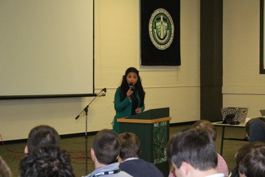 As part of the year's Character Talks, Ms. Angie Fenton spoke with the Trinity Junior Class about the trauma associated with sexual assault.