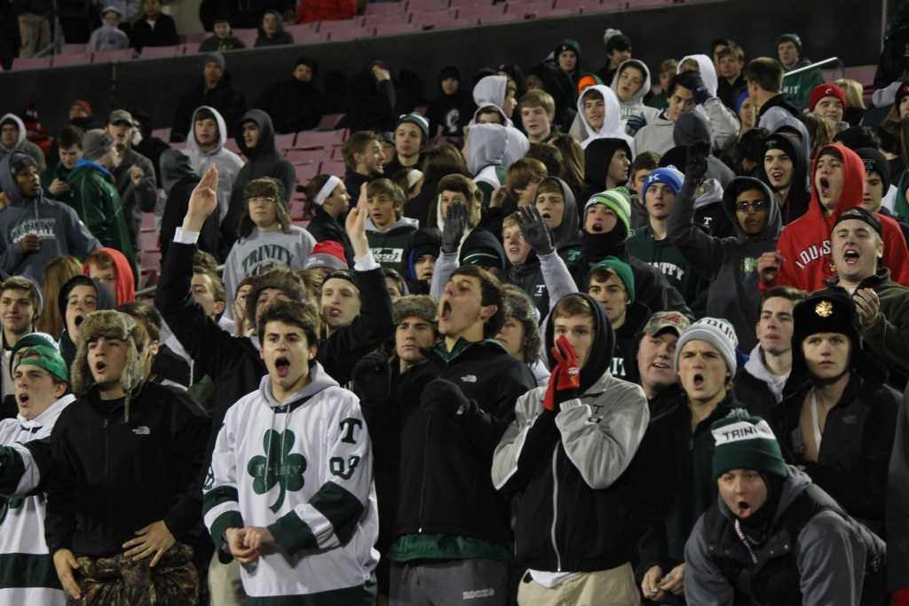 Fans who traveled to WKU -- here shown at the quarterfinal game against St. Xavier -- were treated to the Rocks' 23rd state championship as Trinity defeated Dixie Heights 47-14 Dec. 6.