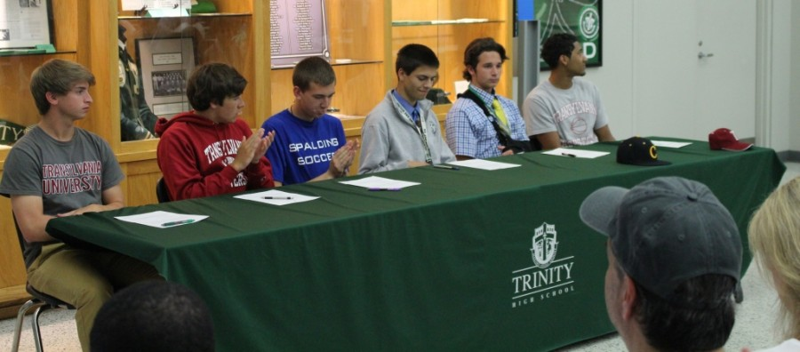 Trinity seniors Tristan Thielmeier,  Thomas Shellenberg, Eric Goranflo,  Vince Turner, Cooper Warner and Michael Stafford signed national letters of intent yesterday to play athletics on the next level.