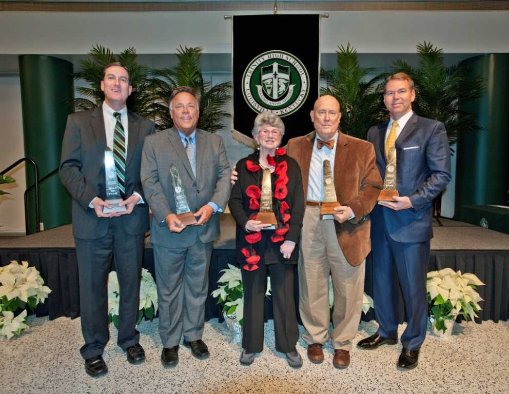 At the annual Hall of Fame Banquet, held Dec. 17 in Trinity's Alumni Hall, the following were inducted: Mike Jones '74,      Michael Brennan '81,         Kathy Mershon H'92, Jack Hettinger '63, Vince Tyra '84