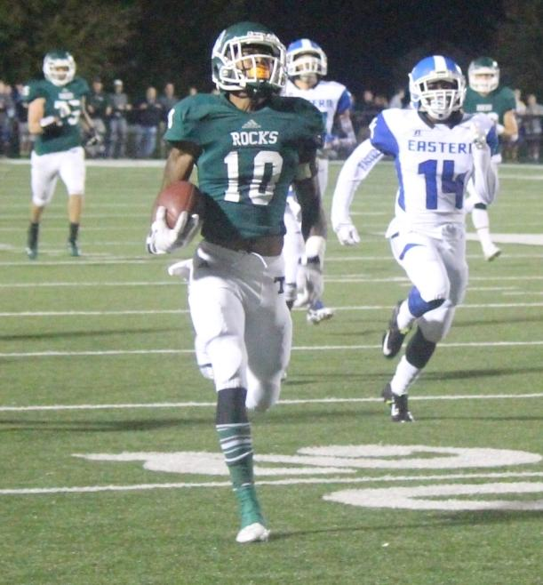 Trinity's Rodjay Burns dashed to the end zone against Eastern. Burns signed a national letter of intent with the Ohio State Buckeyes Feb. 3.