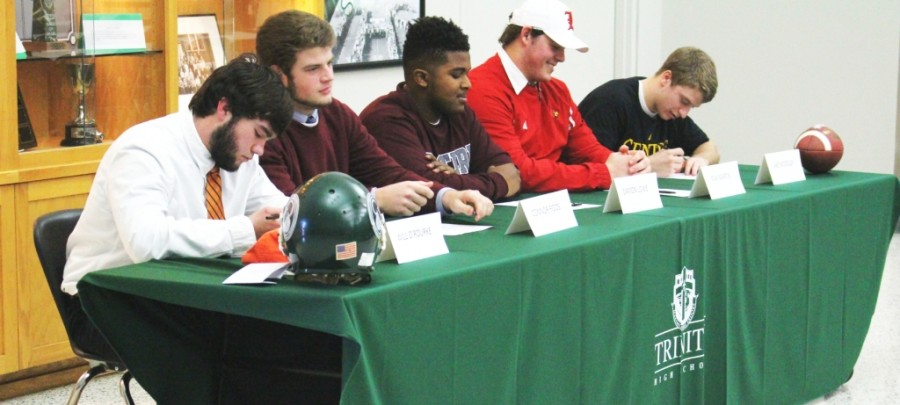 Trinity's Will O'Rourke (Georgetown), Connor Foos (Eastern Kentucky University), Damon Lowe (Eastern Kentucky University), Max Martin (University of Louisville) and Jake Woosley (Centre College) signed national letters of intent to play football on the next level.