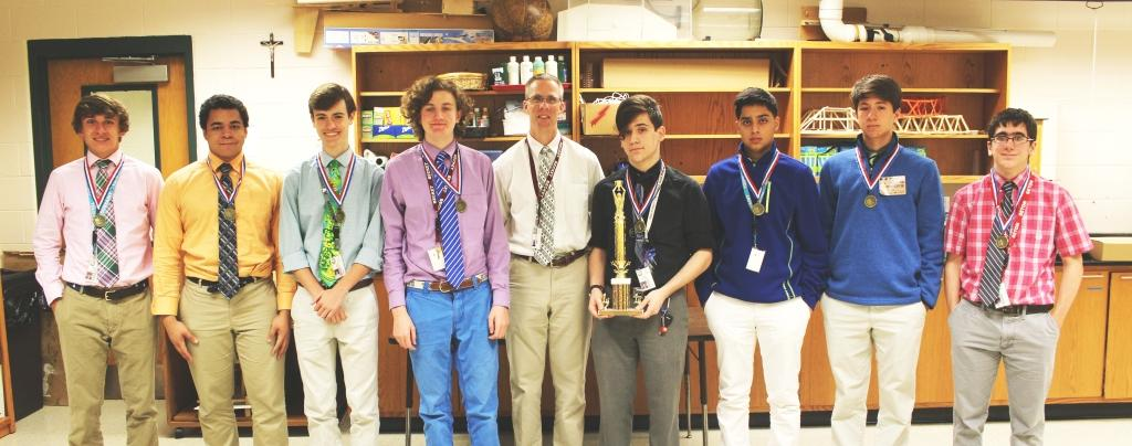 The Trinity math team won the following individual honors in Greater Louisville Math League play: Glavin Swain - 1st Place, Juniors; Julian Prince - 2nd Place, Freshmen; Cooper Winrich - 2nd Place, Sophomores; Nick Thevenin - 5th Place, Sophomores; coach Mr. Peter Diehl; Jacob Kalbfleisch - 2nd Place, Seniors; Shaan Kalra - 2nd Place, Juniors; Chris Elder - 1st Place, Freshmen; David Gregory - 1st Place, Sophomores. Not pictured: Sam McCalpin - 1st Place, Seniors; Hanli Li - 4th Place, Seniors