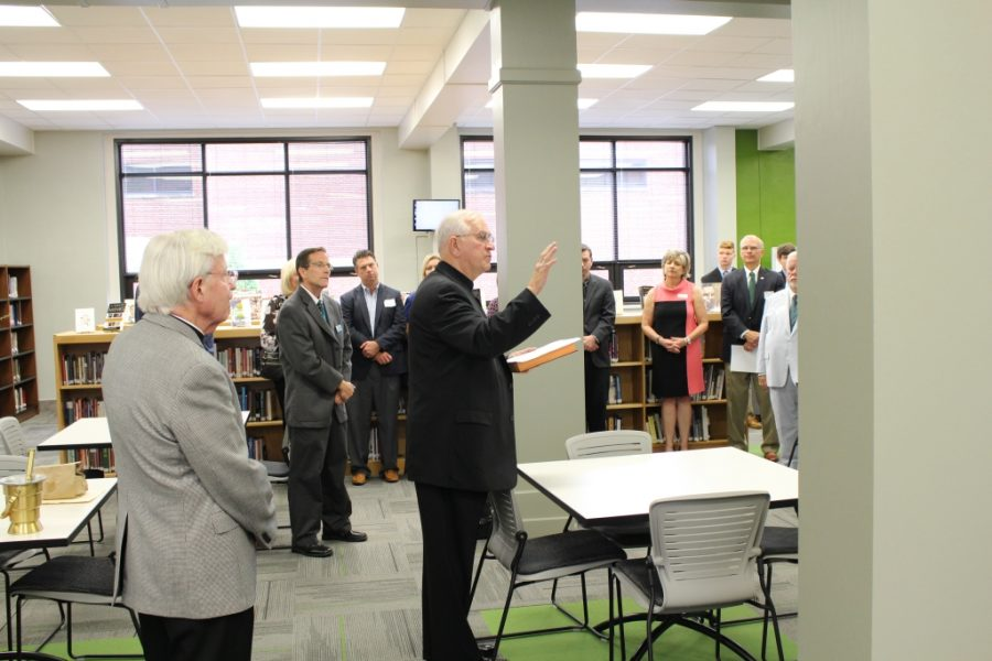 Archbishop Blesses Renovated W. Peter Flaig Library Media Center
