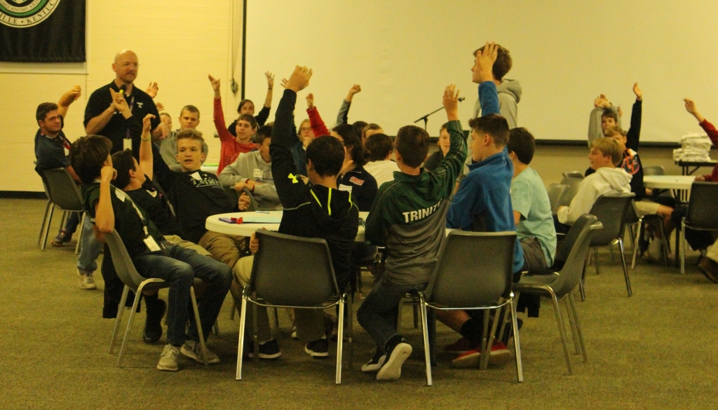 Mr. Matt Manning talks with the  students taking part in the Trinity Middle School Leadership Conference.