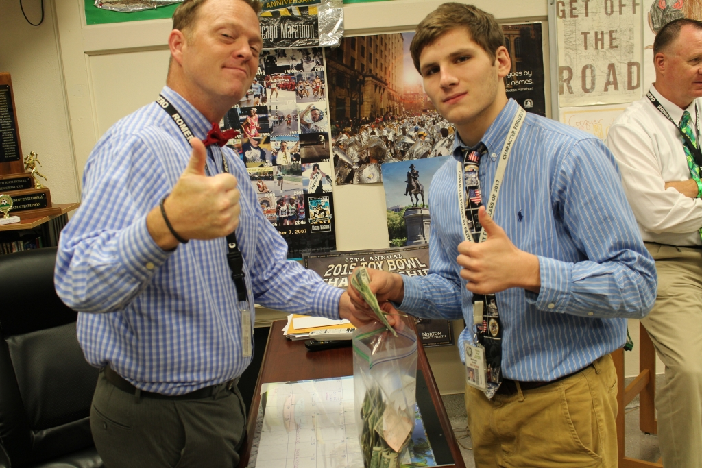 Mr. Chad Waggoner's advising class brought in 207.8 percent of their $6 per student goal.