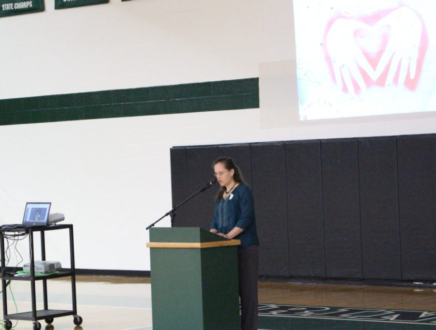 During the Thanksgiving prayer service Ms. Cory Lockhart shared her experiences teaching abroad.