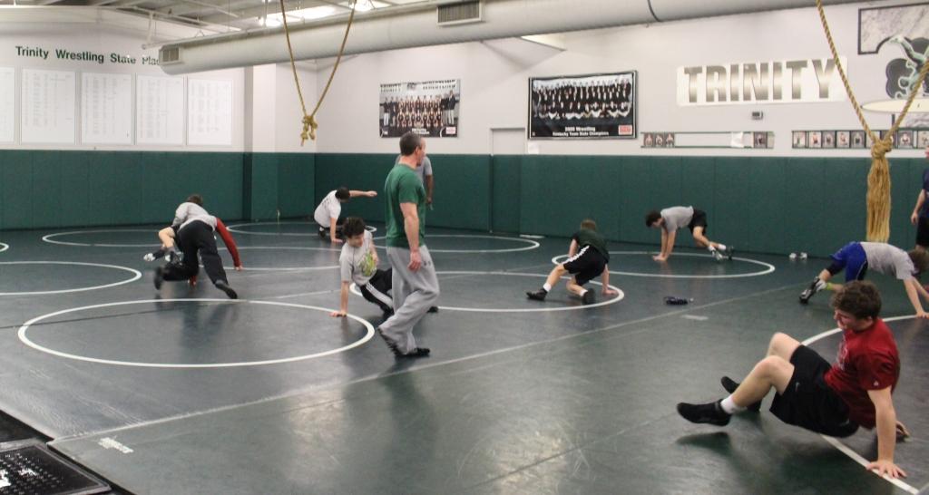 Trinity wrestling practice.