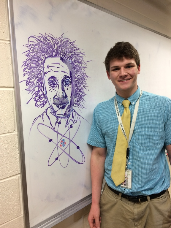 Senior+Daniel+Langford+with+his+10-minute+drawing.+