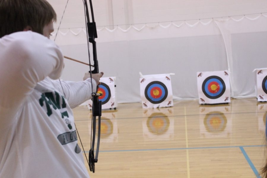 Trinity junior Kyle Sears puts in some archery team practice time.