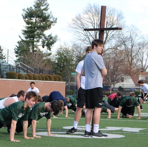 The spring sports teams took part in a Stations of the Cross workout this past Friday afternoon inside Trinity's Marshall Stadium.