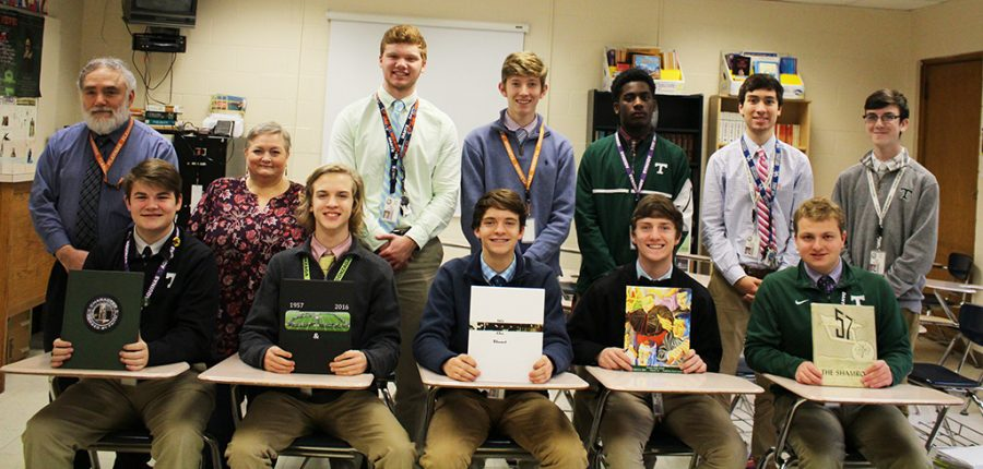 2017-18 Photo & Online Journalism (Semester 1) -- Front Row: Aidan Kolb, Max Urton, LC Newton, Thad Jones, Dominic Sutkamp. Back Row: adviser/instructor Mr. Tony Lococo, assistant Mrs. Susan Lococo, editor in chief Cole Crush, Ethan Vanlandingham, Carter Martin, Sam Hebestreit, Bobby Burt.  Not Pictured: independent photographers Matt Gadd and Richard Gregor