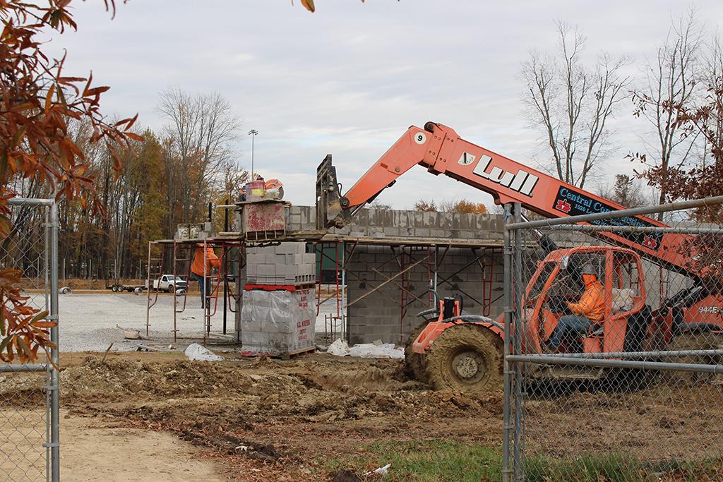 Trinity's new baseball field is under construction.