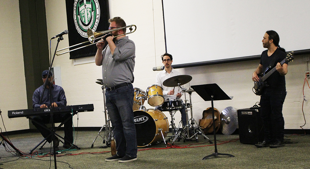 A UL jazz ensemble performs for Trinity students on Mar. 29 in the Convocation Hall.