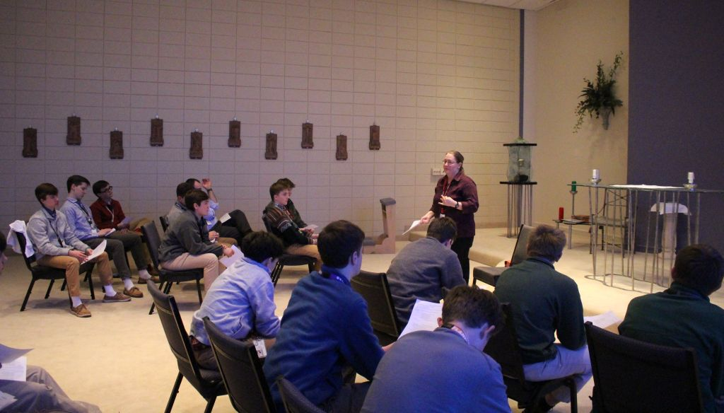 Sr. Kathy Cash, Ph.D. spoke at a Sts. Peter and Paul Society meeting.
