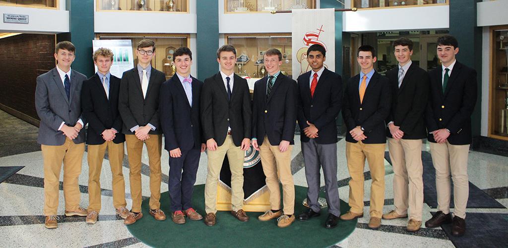 Trinity's Governor's Scholars for 2019 -- Nicholas Huls, Logan Thomas, Gus Boyer, Jackson McClellan, Jackson Riney, Alexander Deye, John Fernandez, Isaac McQuillen, Gavin Weakley, Tristan Harbold