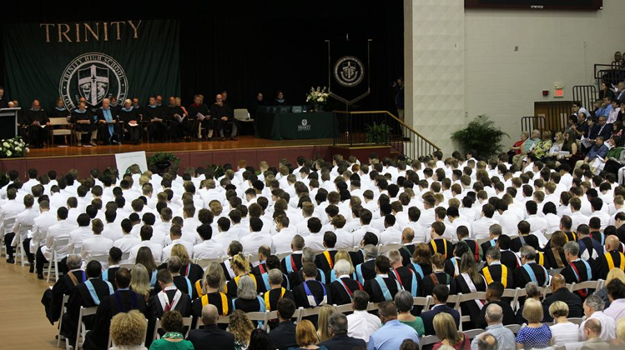 Commencement+for+Trinity%27s+63rd+graduating+class+took+place+May+19+in+Bellarmine+University%27s+Knights+Hall.+