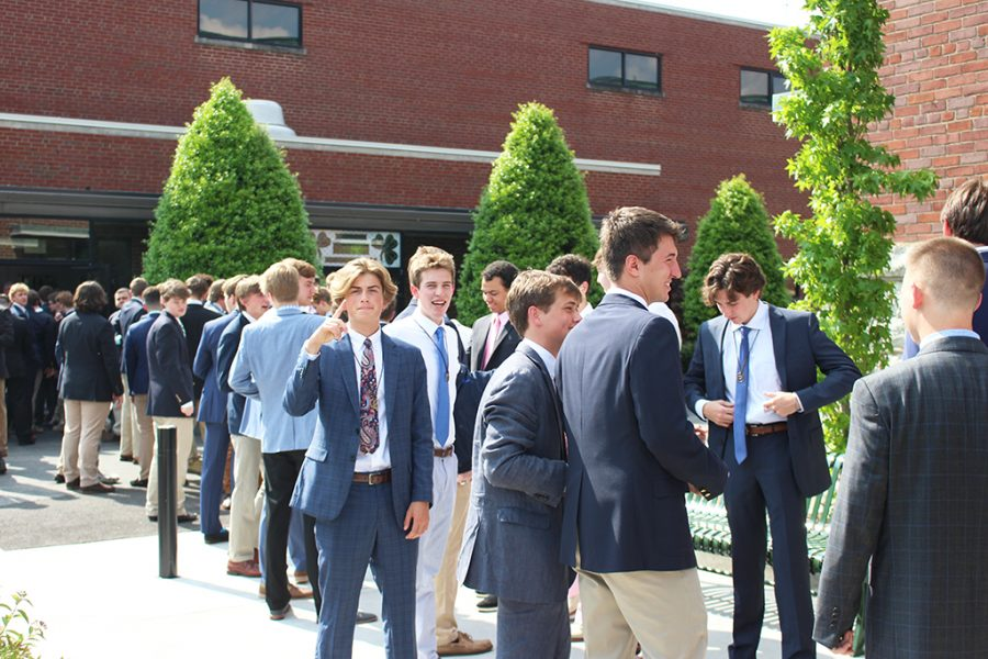 The+Class+of+2019+prepares+to+enter+Steinhauser+Gymnasium+for+the+63rd+annual+Baccalaureate+Mass.+