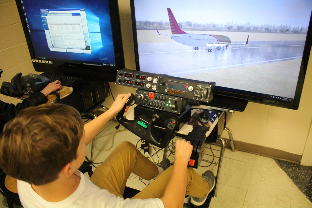 Tim's Flying Club utilizes flight simulators to help students learn what it takes to become a pilot.