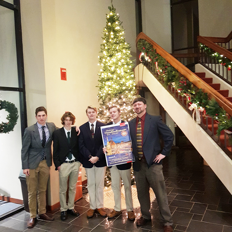 Juniors+Thad+Lipinski+and+Jackson+Bogel+and+seniors+Thomas+Clarke+and+Patrick+Clarke%2C+and+teacher+Mr.+Jeff+Hurt+at+the+15th+annual+Weihnachtsgottesdienst.