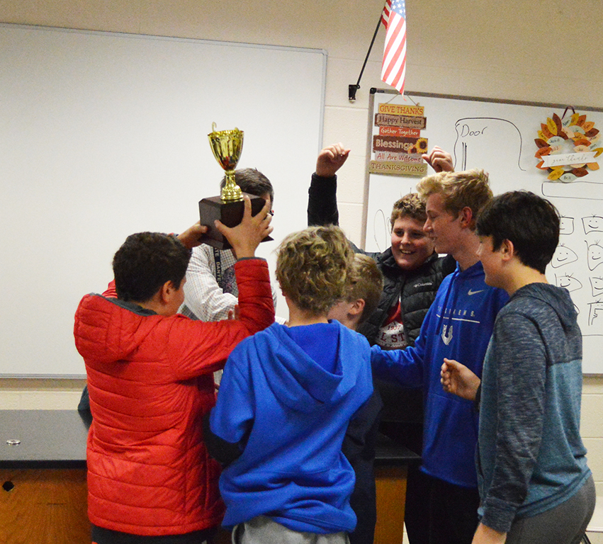 Holy+Spirit+celebrates+after+winning+the+annual+Trinity+Quick+Recall+Tournament.+