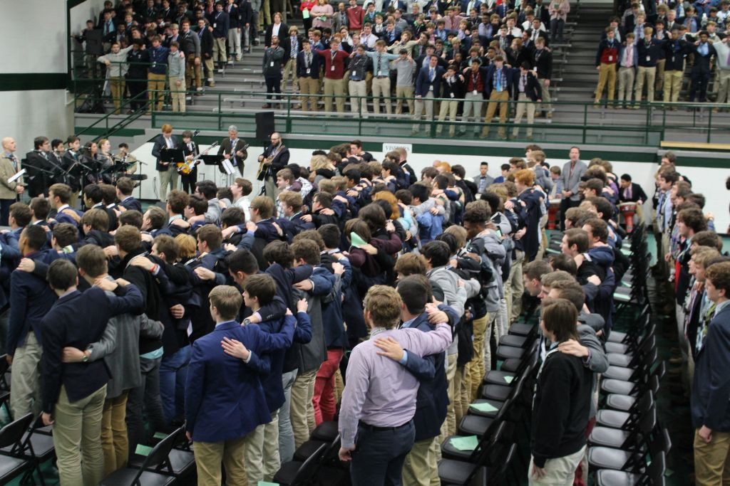 Rocks sing the Alma Mater at the end of Mass on Nov. 26.