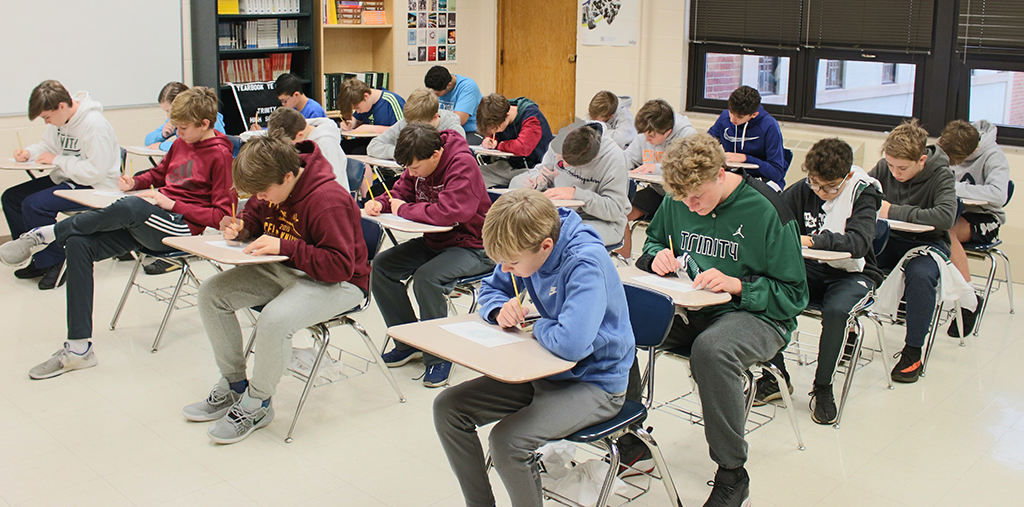 Hundreds of eighth-graders took the Trinity Placement Test.