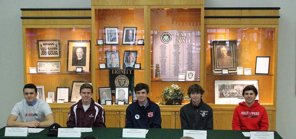 Trinity student-athletes Ben DiSanto (lacrosse), Nick Lewis (cross country), JM Butler (golf), Ballard Harris (golf) and Davis Money (golf) signed to play their sport on the next level.