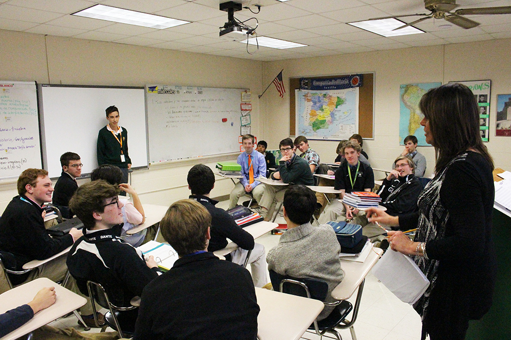 Visitors from Argentina exchange ideas with students in one of Ms. Maria Martín's classes.