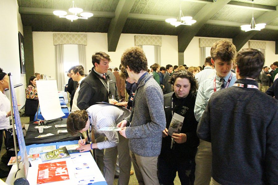 Selecting+the+right+college+or+university+is+sometimes+a+rigorous+process.+Trinity+juniors+attended+a+college+fair+in+the+Convocation+Hall+Feb.+11.+