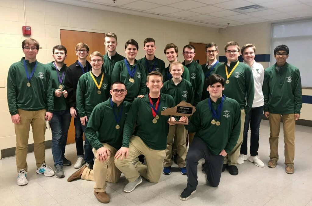 Governor's Cup District Champs for the third consecutive year -- Front Row: Hunter Ruckriegel, Nick Huls, Rob Powers, Riley Moremen. Back Row: Evan Baldridge, Cade Watson, Bryce Thompson, Paul Springer, Will Hodge, Jack McCalpin, Dylan Fox, Aden Yeager, Dylan Ernst, head coach Mr. Mark Amick, Ethan Brunton, Russell Glass, Krish Gupta