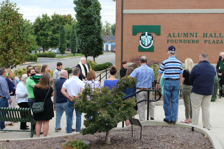 A prayer service in memory of Mr. Steven Tompkins '81 included the planting of a tree in his memory.
