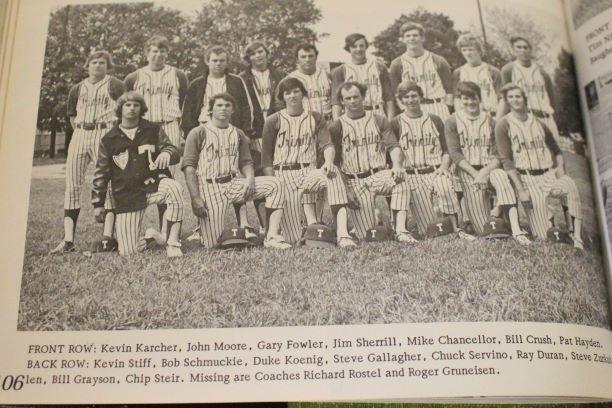 The 1973 Shamrocks baseball team, including Mr. Mike Chancellor '75
