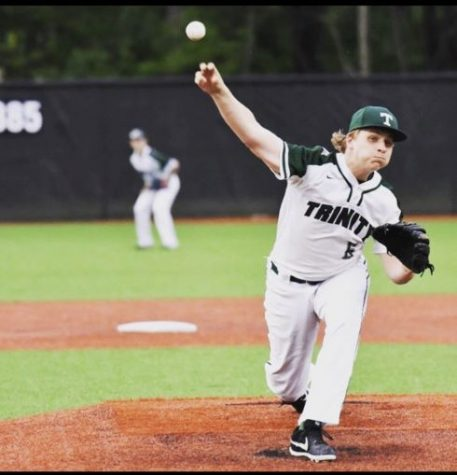 Trinity senior Colin Murphy pitches for the 28-1 Rocks.