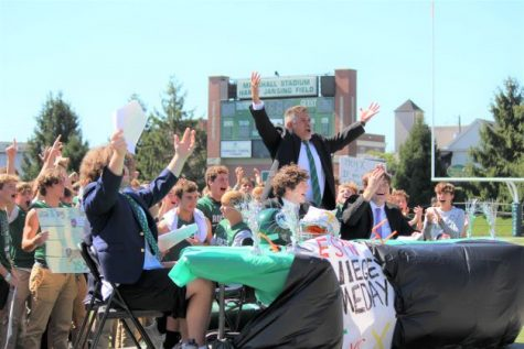 The Rocks shook Marshall Stadium with a Game Day-themed pep rally.